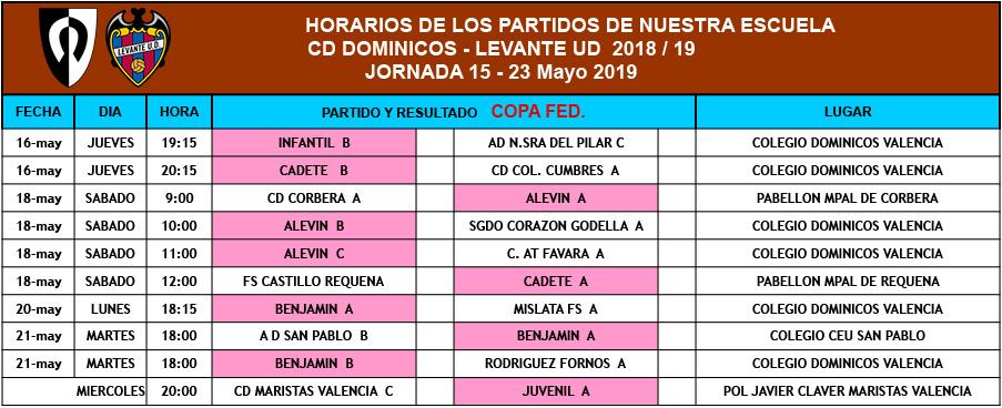 Horarios (15 - 23 de Mayo)