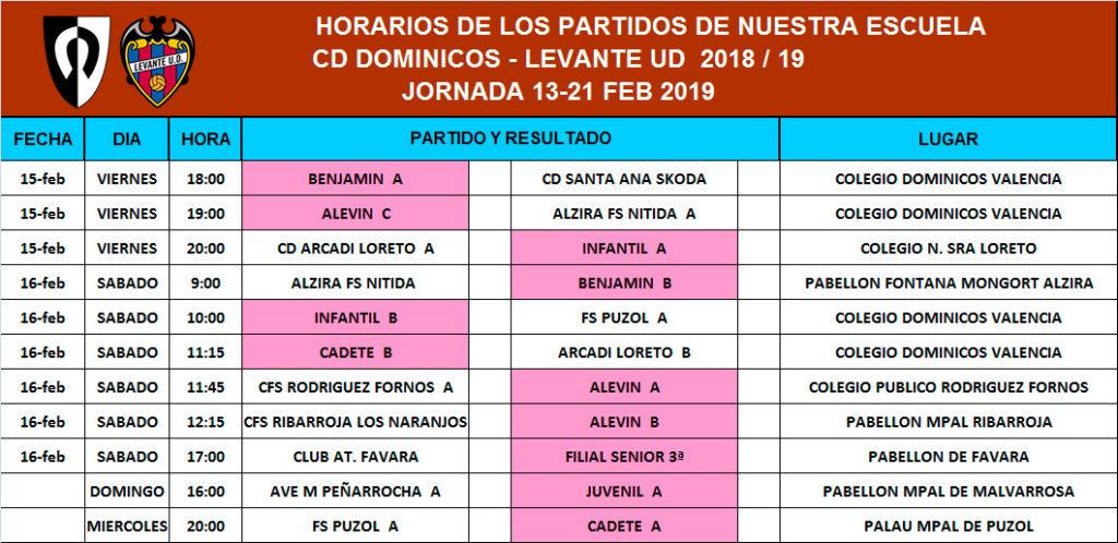 Horarios - Jornada 13 - 21 de Febrero