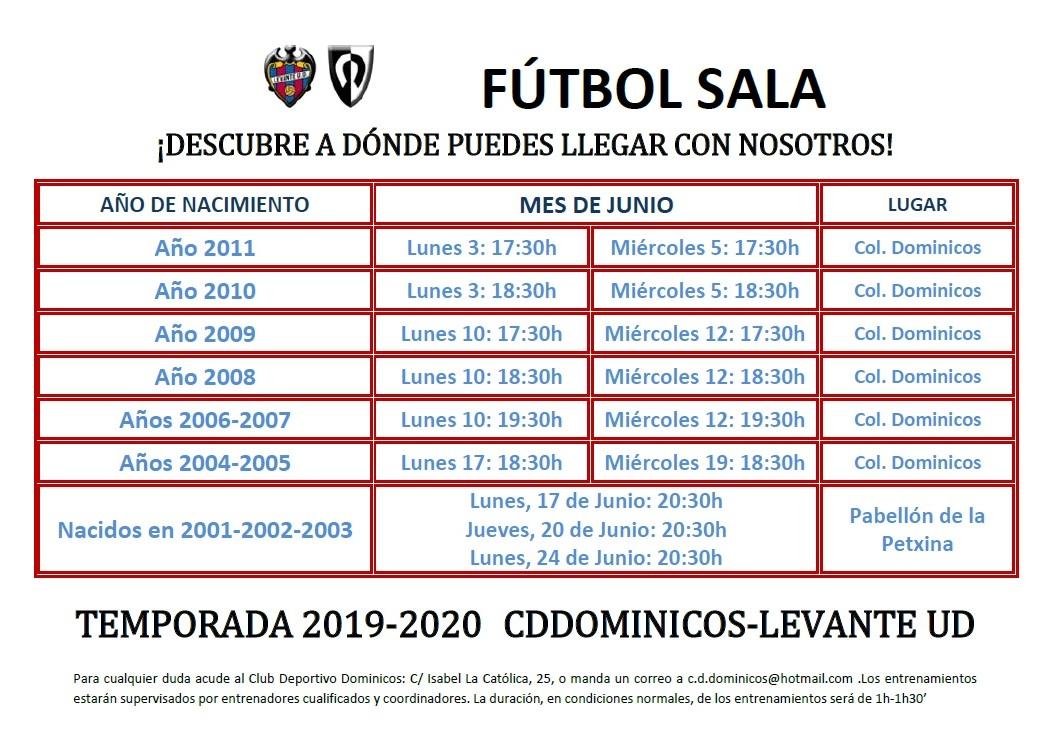 Jornadas de Captación Temporada 2019-20 - Pruebas masculino