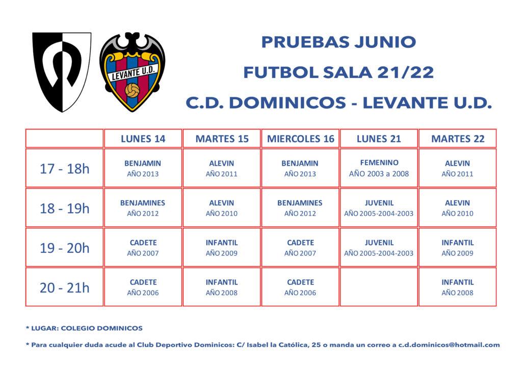 Fútbol-Sala Pruebas junio 21-22